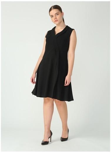 Selen Selen Siyah Şal Yaka Elbise Siyah